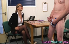 Cfnm boss blonde watches office perv jerk