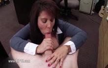 MILF sucks and fucks in office