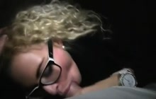 Blonde in glasses POV fuck
