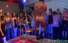 Naked male strippers getting blowjob on a party